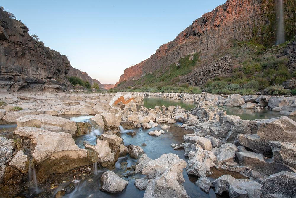 Water falls and natural springs galor along the Snake River canyon near Twin Falls, Idaho.