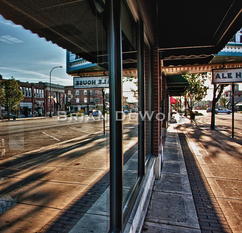 Window Reflection showing downtown Geneva, IL