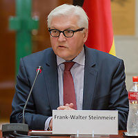 Frank-Walter Steinmeier foreign minister of Germany talks during a press conference after the meeting of the foreign ministers of the V4 group (Czech Republic, Hungary, Poland and Slovakia) in Budapest, Hungary on March 13, 2014. ATTILA VOLGYI