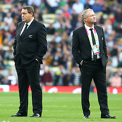 LONDON, ENGLAND - OCTOBER 31: Steve Hansen (Head Coach) of New Zealand with Grant Fox during the Rugby World Cup Final match between New Zealand vs Australia Final, Twickenham, London on October 31, 2015 in London, England. (Photo by Steve Haag)