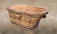 Minoan  pottery bath tub  larnax decorated with stylised octopuses,  Episkopi-Lerapetra 1350-1250 BC, Heraklion Archaeological  Museum.<br /> <br /> To the Greeks, the Underworld was entered by water. As with many other Minoan bathtubs, this one was probably later used as a coffin to convey the deceased across the sea, where marine imagery would be equally appropriate. The two functions of bathtubs, bathing and burial, combine in the story of Agamemnon who, on return from Troy, was murdered by his wife and her lover in a silver bath. .<br /> <br /> If you prefer to buy from our ALAMY PHOTO LIBRARY  Collection visit : https://www.alamy.com/portfolio/paul-williams-funkystock/minoan-art-artefacts.html . Type -   Heraklion   - into the LOWER SEARCH WITHIN GALLERY box. Refine search by adding background colour, place, museum etc<br /> <br /> Visit our MINOAN ART PHOTO COLLECTIONS for more photos to download  as wall art prints https://funkystock.photoshelter.com/gallery-collection/Ancient-Minoans-Art-Artefacts-Antiquities-Historic-Places-Pictures-Images-of/C0000ricT2SU_M9w