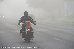 """Randy Aron riding his 1929 Harley-Davidson JD named """"Lucille"""" in the fog at the beginning of Stage 8 of the Motorcycle Cannonball Cross-Country Endurance Run, which on this day ran from Junction City, KS to Burlington, CO., USA. Saturday, September 13, 2014.  Photography ©2014 Michael Lichter."""