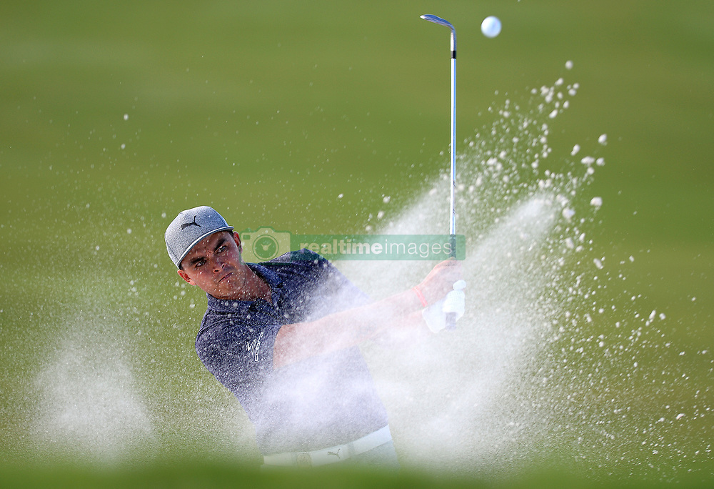 Rickie Fowler hits his ball from a sand trap along the 16th green during first-round action of the PGA Championship at Quail Hollow Club on Thursday, Aug. 10, 2017, in Charlotte, N.C. (Photo by Jeff Siner/Charlotte Observer/TNS/Sipa USA)  *** Please Use Credit from Credit Field ***