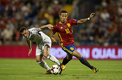 October 6, 2017 - Alicante, Spain - Thiago Alcantara (Bayern Munchen) and Taulant Xhaka during the qualifying match for the World Cup Russia 2018 between Spain and Albaniaat the Jose Rico Perez stadium in Alicante, Spain on October 6, 2017. (Credit Image: © Jose Breton/NurPhoto via ZUMA Press)