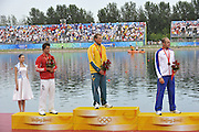Shunyi, CHINA. Great Britain's,  Saturdays  Men's Kayak single [K1] 500m, final, Gold medal  AUS Ken WALLACE, left Silver medal CAN K1, Adam van KOEVERDEN  and right Bronze medalist , GBR K1 Tim BRABANTS,  at the 2008 Olympic Canoe/Flatwater Racing, Shunyi Rowing-Canoeing Course. Saturday - 23/08/2008,  [Mandatory Credit: Peter SPURRIER, Intersport Images]
