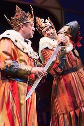 """© Licensed to London News Pictures. 26/07/2012. London, England. L-R: Jon Culshaw and Marcus Brigstocke as """"King Arthur"""". Monty Python's """"Spamalot"""" musical based on the film """"Monty Python and the Holy Grail"""" opens at the Harold Pinter Theatre in London. The role of King Arthur is shared between Jon Culshaw and Marcus Brigstocke. Photo credit: Bettina Strenske/LNP"""