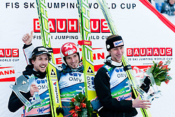 Winner Robert Kranjec of Slovenia, second place Simon Ammann of Switzerland and third place for Martin Koch of Austria during Flying Hill Individual at 2nd day of FIS Ski Jumping World Cup Finals Planica 2012, on March 16, 2012, Planica, Slovenia. (Photo by Matic Klansek Velej / Sportida.com)