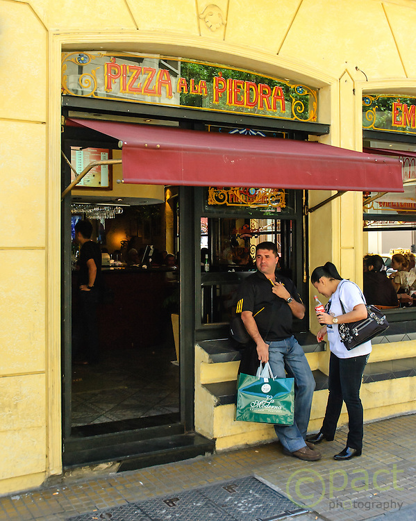 pizza a la piedra, one of the many restaurants in the San Telmo district of Buenos Aires, Argentina