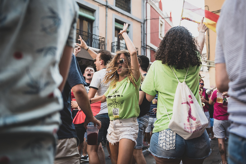 Young adults dance on the street during a festival in the city of León, Spain. (June 23, 2018)<br /> <br /> DAY 27: STAYED IN LEON