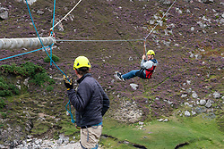 Zip line at Ceannabeinne Beach near Durness in Scotland UK