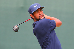 August 25, 2018 - Paramus, NJ, U.S. - PARAMUS, NJ - AUGUST 25:   Tony Finau of the United States plays his shot from the first tee  during the third round of The Northern Trust on August 25, 2018 at the Ridgewood Championship Course in Ridgewood, New Jersey.   (Photo by Rich Graessle/Icon Sportswire) (Credit Image: © Rich Graessle/Icon SMI via ZUMA Press)