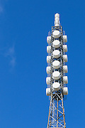 Television broadcast antenna on a lattice tower used for tv transmission at Mount Canobolas, Orange, New South Wales, Australia <br /> <br /> Editions:- Open Edition Print / Stock Image