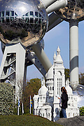 Brussels, Belgium, Apr 20, 2007, Just underneath the Atomium there's a mini europa park, exhibiting Europe's miniature monuments. Some perspectives give bizar images. .Paris' Sacre Coeur and the Atomium.©Christophe Vander Eecken..