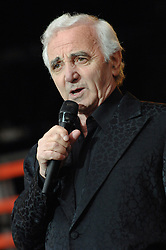 French singer Charles Aznavour performs live on stage during 16th edition of 'Vieilles Charrues' music Festival, in Carhaix, France, on July 19, 2007. Photo by ABACAPRESS.COM
