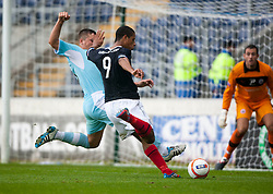 Falkirk's Lyle Taylor shoots..Falkirk 3 v 0 Stirling Albion, Ramsdens Cup..© Michael Schofield.