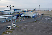 Aerial landscape of the Port of Ramsgate, a closed but once busy ferry terminal, on 8th January 2019, in Ramsgate, Kent, England. The Port of Ramsgate has been identified as a 'Brexit Port' by the government of Prime Minister Theresa May, currently negotiating the UK's exit from the EU. Britain's Department of Transport has awarded to an unproven shipping company, Seaborne Freight, to provide run roll-on roll-off ferry services to the road haulage industry between Ostend and the Kent port - in the event of more likely No Deal Brexit. In the EU referendum of 2016, people in Kent voted strongly in favour of leaving the European Union with 59% voting to leave and 41% to remain.