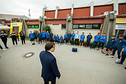 Luka Brezovec, president of Bravo having a speech after the football match between NK Domzale and NK Aluminij in 36th Round of Prva liga Telekom Slovenije 2020/21, on May 22, 2021 in Sportni park Domzale, Slovenia. Photo by Vid Ponikvar / Sportida