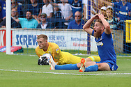 AFC Wimbledon midfielder Scott Wagstaff (7) denied a penalty during the EFL Sky Bet League 1 match between AFC Wimbledon and Coventry City at the Cherry Red Records Stadium, Kingston, England on 11 August 2018.