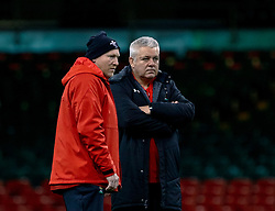 Head Coach Warren Gatland of Wales with Neil Jenkins<br /> <br /> Photographer Simon King/Replay Images<br /> <br /> Six Nations Round 5 - Wales v Ireland Captains Run - Saturday 15th March 2019 - Principality Stadium - Cardiff<br /> <br /> World Copyright © Replay Images . All rights reserved. info@replayimages.co.uk - http://replayimages.co.uk