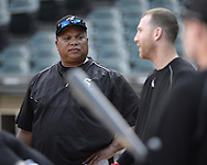 CHICAGO - JUNE 29:  Hitting coach Todd Steverson #39 of the Chicago White Sox looks on during batting practice prior to the game against the Minnesota Twins on June 29, 2016 at U.S. Cellular Field in Chicago, Illinois.  (Photo by Ron Vesely) Subject:    Todd Steverson