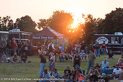 The crowd starts coming in at sunset for the main stage concerts during the 2016 ROT (Republic of Texas Rally). Austin, TX, USA. June 11, 2016.  Photography ©2016 Michael Lichter.