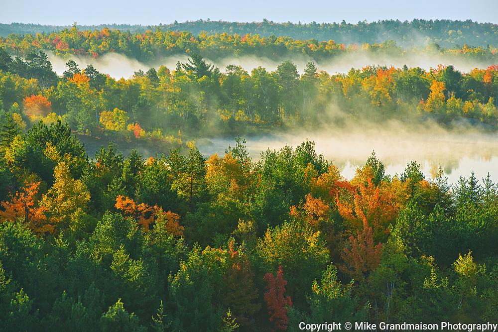 Morning fog on Lake Laurentian. Autumn. Lake Laurentian Conservation Area.<br />Sudbury<br />Ontario<br />Canada