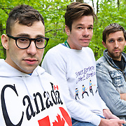 COLUMBIA, MD- April 28, 2012 - Jack Antonoff, Nate Ruess and Andrew Dost of fun. pose for a portrait  before gates open at the 2012 Sweetgreen Festival at Merriweather Post pavilion in Columbia, MD(photo by Kyle Gustafson)