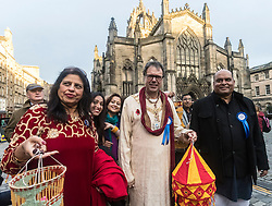 The Edinburgh Diwali celebration culminates in a procession from the City Chambers on the historic Royal Mile to the Princes Street Gardens. Celebrated throughout the world by Hindus, Seikhs and Jains, the Festival of Light symbolises the victory of good over evil. People celebrate Diwali through distributing sweets, gifts and thanks giving to each other.<br /> <br /> Pictured: Edinburgh Lord Provost Donald Wilson