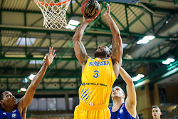 Lance Christopher Harris of Sixt Primorska vs James Woodard of MZT Skopje Aerodrom and Andrija Bojic of MZT Skopje Aerodrom during basketball match between Sixt Primorska and MZT Skopje Aerodrom in ABA League Second division, on October 11, 2018 in Dvorana Bonifika, Koper, Slovenia. Photo by Matic Klansek Velej / Sportida