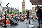Julie Hesmondhalah, actress speaking at the  People's Assembly Against Austerity 'End Austerity Now' demonstration attended by over 250,000 people on Saturday 20th of June 2015 sending a clear message to the Tory government; demanding an alternative to austerity and to policies that only benefit those at the top. London, UK.