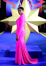 Lashana Lynch attending the Captain Marvel European Premiere held at the Curzon Mayfair, London. Picture date: Wednesday February 27, 2019. Photo credit should read: Ian West/PA Wire
