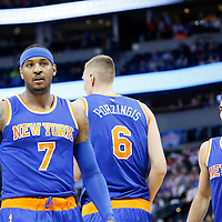 08 March 2016: New York Knicks forward Carmelo Anthony (7) is seen next to New York Knicks forward Kristaps Porzingis (6) and New York Knicks guard Jose Calderon (3) during the Denver Nuggets 110-94 victory over the New York Knicks, at the Pepsi Center, Denver, Colorado, USA.