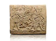 Hittite sculpted orthostats of Long Wall Limestone, Karkamıs, (Kargamıs), Carchemish (Karkemish), 900-700 BC. Anatolian Civilisations Museum, Ankara, Turkey<br /> <br /> Soldiers. Figure of three helmeted warriors. They have their shield in their back and their spear in their hand. The prisoners in their front are depicted as small. The lower part of the orthostat is decorated with wring / braiding motifs.<br /> <br /> On a White Background. .<br />  <br /> If you prefer to buy from our ALAMY STOCK LIBRARY page at https://www.alamy.com/portfolio/paul-williams-funkystock/hittite-art-antiquities.html  - Type  Karkamıs in LOWER SEARCH WITHIN GALLERY box. Refine search by adding background colour, place, museum etc.<br /> <br /> Visit our HITTITE PHOTO COLLECTIONS for more photos to download or buy as wall art prints https://funkystock.photoshelter.com/gallery-collection/The-Hittites-Art-Artefacts-Antiquities-Historic-Sites-Pictures-Images-of/C0000NUBSMhSc3Oo