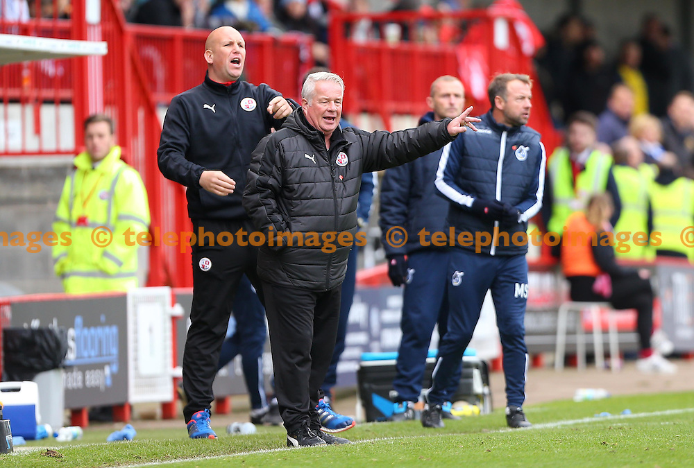 Crawley Town's Manager Dermot Drummy gestures to his players during the FA Cup match between Crawley Town and Bristol Rovers at the Checkatrade Stadium in Crawley. November 5, 2016.<br /> James Boardman / Telephoto Images<br /> +44 7967 642437