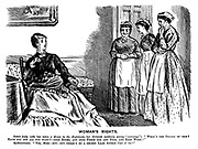 """Woman's Rights. Scotch Lady (who has tken a house in the Highlands, her servants suddenly giving """"warning""""). What's the reason of this? Have you not all you want? - Good rooms, and good fresh air and food, and easy work?"""" Spokeswoman. """"Yes, mem - but - but there's no a decent laad within cry o' us!"""""""