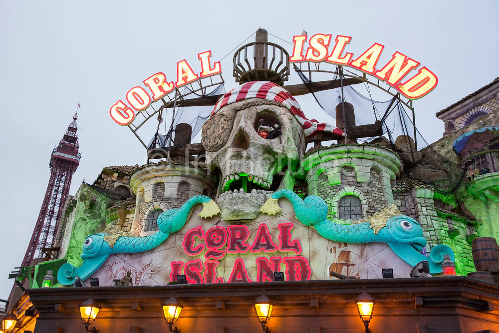 Entrance to Coral Island on New Bonny Street, Blackpool, Lancashire, England, United Kingdom.  Coral Island is Blackpools largest indoor free admission family attraction including seaside rides, adult games, slot machines and bingo and is located in the Golden Mile.