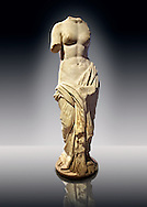 Statue of a Nymphe, the spirit of the meadows, forest & waters, an early Roman marble sculpture, Ist cent B.C, from Tralles (Aydin) , west Turkey. Istanbul Archaeological museum Cat. Mendel 543. .<br /> <br /> If you prefer to buy from our ALAMY STOCK LIBRARY page at https://www.alamy.com/portfolio/paul-williams-funkystock/greco-roman-sculptures.html- Type -    Istanbul    - into LOWER SEARCH WITHIN GALLERY box - Refine search by adding a subject, place, background colour, museum etc.<br /> <br /> Visit our CLASSICAL WORLD HISTORIC SITES PHOTO COLLECTIONS for more photos to download or buy as wall art prints https://funkystock.photoshelter.com/gallery-collection/The-Romans-Art-Artefacts-Antiquities-Historic-Sites-Pictures-Images/C0000r2uLJJo9_s0c