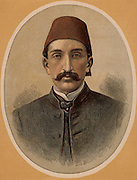 Abdul Hamid II (1842-1918) last Sultan of Turkey (1876-1909).  Called the Great Assassin; despotic ruler; deposed and exiled 1909.  Colour-printed wood engraving.