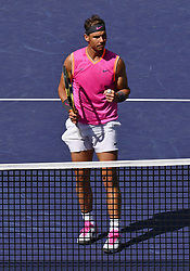 March 15, 2019 - Indian Wells, CA, U.S. - INDIAN WELLS, CA - MARCH 15: Rafael Nadal (ESP) reacts after winning a point in the first set of a quarterfinals match played during the BNP Paribas Open on March 15, 2019 at the Indian Wells Tennis Garden in Indian Wells, CA. (Photo by John Cordes/Icon Sportswire) (Credit Image: © John Cordes/Icon SMI via ZUMA Press)