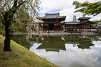 Byodo-in is a Buddhist temple in the city of Uji Kyoto prefecture, a National Treasure and a World Heritage Site.  Its outline is featured on the ¥10 coin. Built in 998 AD during the Heian period, Byodo-in was originally a private residence like many Japanese temples.  It was converted into a temple by the Fujiwara clan in 1052. The Phoenix Hall, the great statue of Amida inside it, and several other items at Byodoin are Japanese National Treasures. UNESCO listed the garden and building as a World Heritage Site in 1994.