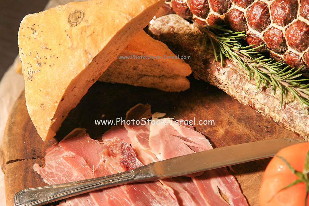 French Sausage and slices of prosciutto