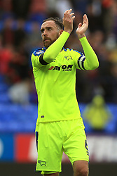 Derby County's Richard Keogh applauds the travelling support