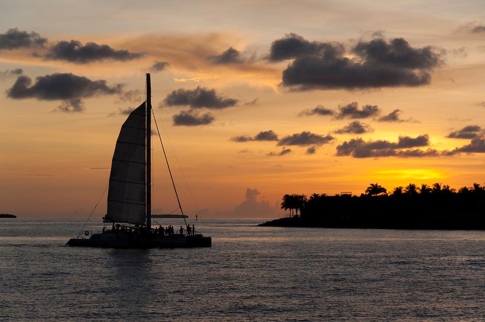 Catamaran sailing with tourists with a caribbean island behind at sunset.
