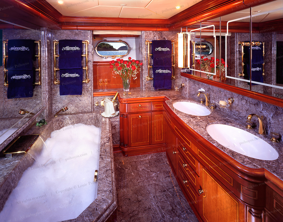 The master bath of the sailing yacht Hyperion rivals the finishings of a palace.