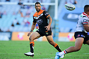 Benji Marshall of the Tigers. Wests Tigers v Sydney Roosters. NRL Rugby League. ANZ Stadium, Sydney, Australia. 10th March 2018. Copyright Photo: David Neilson / www.photosport.nz