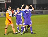 Photo: Tony Oudot/Richard Lane Photography. Dagenham & Redbridge v Rochdale. Coca-Cola Football League Two. 21/11/2009. <br /> Craig Dawson of Rochdale celebrates victory after scoring the winning goal