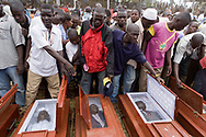Coffins laid out at the rally for peace, Kisumu