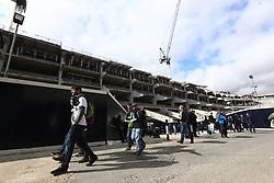 Fans congregate outside White Hart Lane during the Premier League match at White Hart Lane, London.