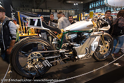 Cool custom Harley-Davidson on display in the Brembo Brakes booth at EICMA, the largest international motorcycle exhibition in the world. Milan, Italy. November 21, 2015.  Photography ©2015 Michael Lichter.