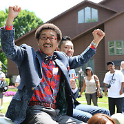 CANASTOTA, NY - JUNE 14: Boxer Yoko Gushiken is seen celebrating during the parade at the International Boxing Hall of Fame induction Weekend of Champions events on June 14, 2015 in Canastota, New York. (Photo by Alex Menendez/Getty Images) *** Local Caption *** Yoko Gushiken